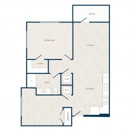 Hudson 5401 apartments one bedroom floor plan