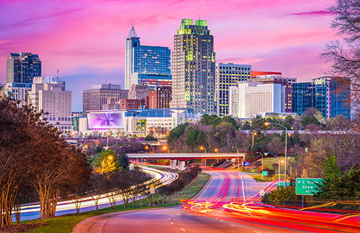 Raleigh night skyline